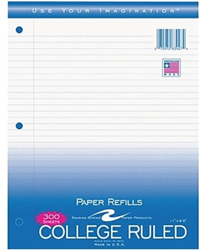College Ruled Filler Paper 8.5x11 - 200 sheets